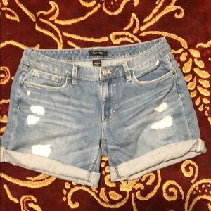 WHBM Deconstructed Girlfriend Jean shorts